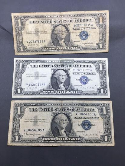 3 Count Lot of 1957 United States Washington $1 Silver Certificates Bill Currency Notes from Estate
