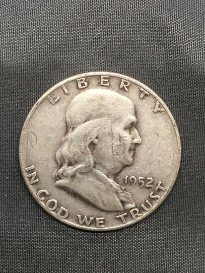 1952-D United States Franklin Silver Half Dollar - 90% Silver Coin from Estate Hoard