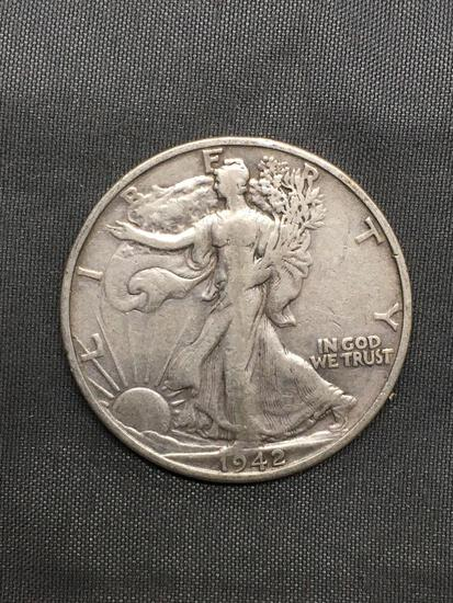 1942-S United States Walking Liberty Silver Half Dollar - 90% Silver Coin from Estate