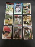 9 Card Lot of Vintage Topps Baseball Cards with Anniversary Stamps from New Packs - WOW