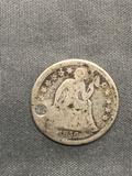 1856 United States Seated Liberty Silver Dime - 90% Silver Coin from Estate
