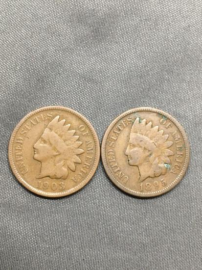 2 Count Lot of United States Indian Head Penny Cent Coins from Estate - 1895 & 1903