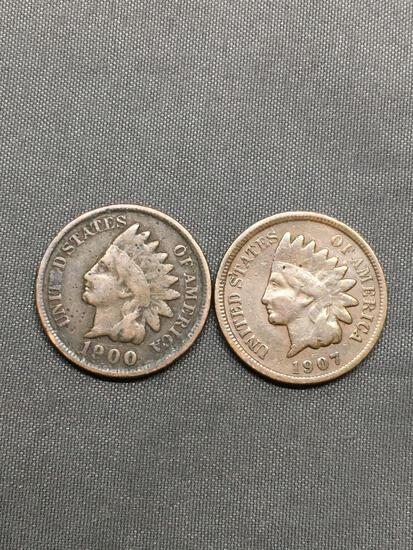 2 Count Lot of United States Indian Head Penny Cent Coins from Estate - 1900 & 1907
