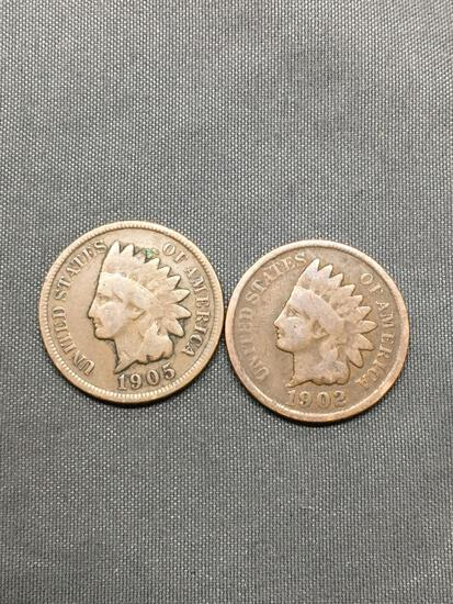 2 Count Lot of United States Indian Head Penny Cent Coins from Estate - 1902 & 1905