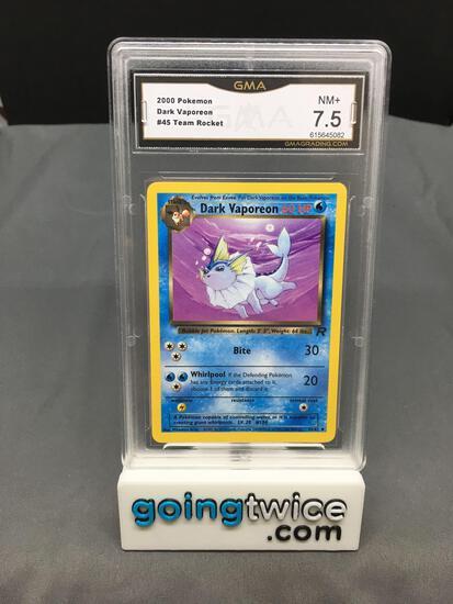GMA Graded 2000 Pokemon Team Rocket #45 DARK VAPOREON Trading Card - NM+ 7.5