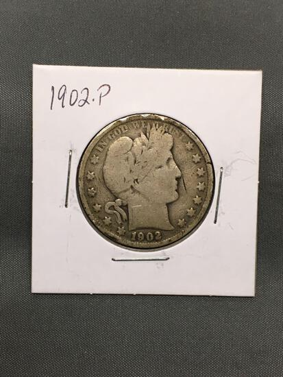 1902-P United States BARBER Silver Half Dollar - 90% Silver Coin from Estate Collection