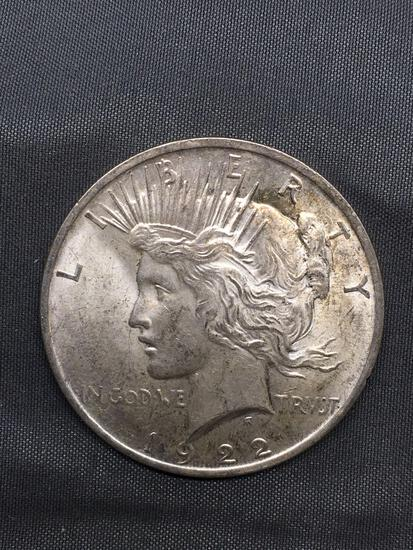 1922 United States Peace Silver Dollar - 90% Silver Coin from Estate Collection