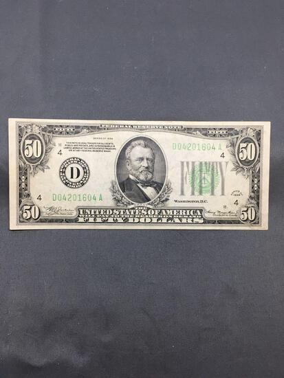 1934 United States Grant $50 Green Seal Bill Currency Note