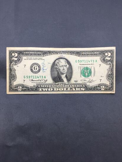 1976 United States Jefferson $2 Green Seal Bill Currency Note