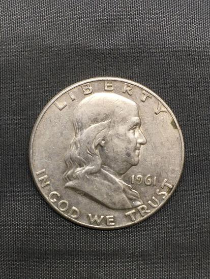 1961-D United States Franklin Silver Half Dollar - 90% Silver Coin from Estate Hoard