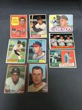9 Card Lot of 1960-1962 Topps Baseball Cards with Stars and HOFers from Estate Collection