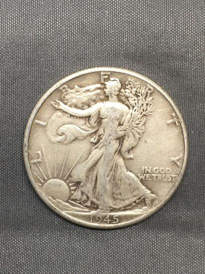 1945 United States Walking Liberty Silver Half Dollar - 90% Silver Coin from Estate