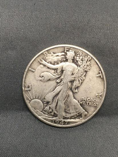 1947 United States Walking Liberty Silver Half Dollar - 90% Silver Coin from Estate