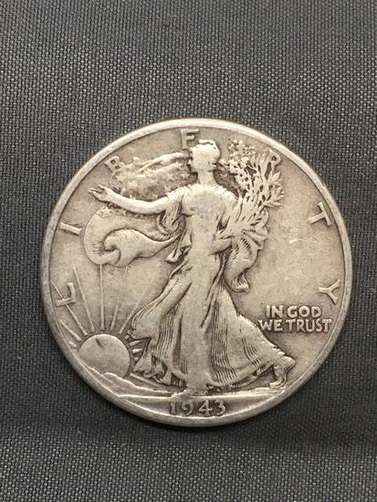 1943-D United States Walking Liberty Silver Half Dollar - 90% Silver Coin from Estate