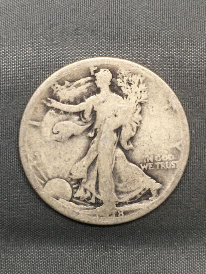 1918-S United States Walking Liberty Silver Half Dollar - 90% Silver Coin from Estate