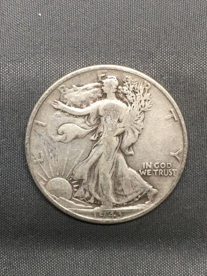 1943 United States Walking Liberty Silver Half Dollar - 90% Silver Coin from Estate