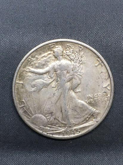 1945-S United States Walking Liberty Silver Half Dollar - 90% Silver Coin from Estate