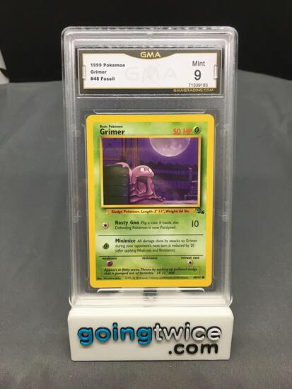 GMA Graded 1999 Pokemon Fossil Unlimited #48 GRIMER Trading Card - MINT 9