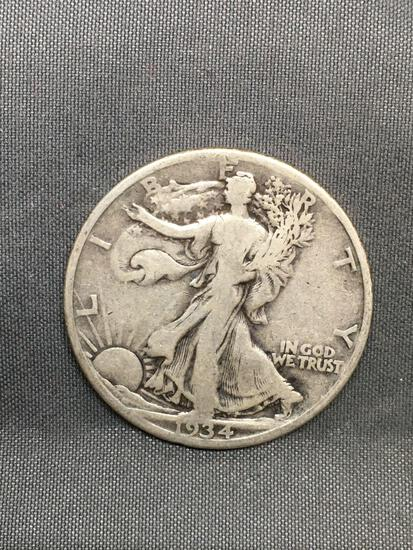 1934-S United States Walking Lberty Silver Half Dollar - 90% Silver Coin from Estate