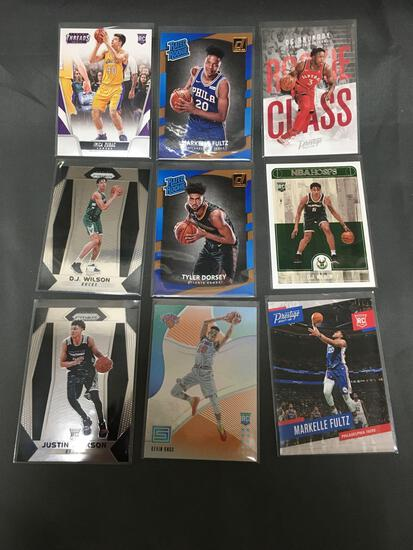 9 Card Lot of BASKETBALL ROOKIE CARDS with Stars and Newer Sets - HIGH BOOK VALUE!