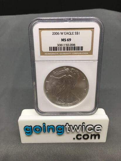 NGC Graded 2006-W United States 1 Ounce .999 Fine Silver American Eagle Bullion Coin - MS 69