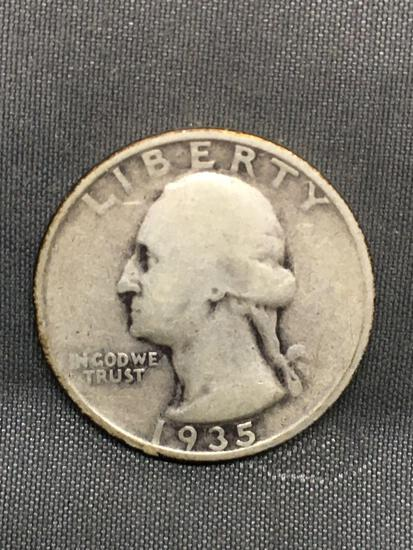 1935-S United States Washington Silver Quarter - 90% Silver Coin from Estate