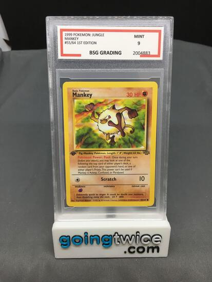 BSG Graded 1999 Pokemon Jungle 1st Edition #55 MANKEY Trading Card - MINT 9