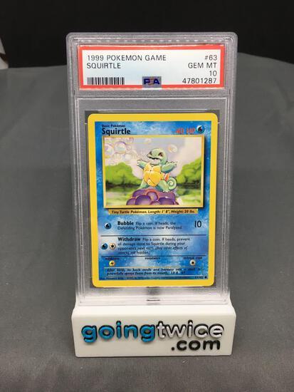 PSA Graded 1999 Pokemon Base Set Unlimited #63 SQUIRTLE Trading Card - GEM MINT 10