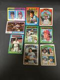 9 Card Lot of 1970's Topps Vintage Baseball Cards with Hall of Famers and Stars