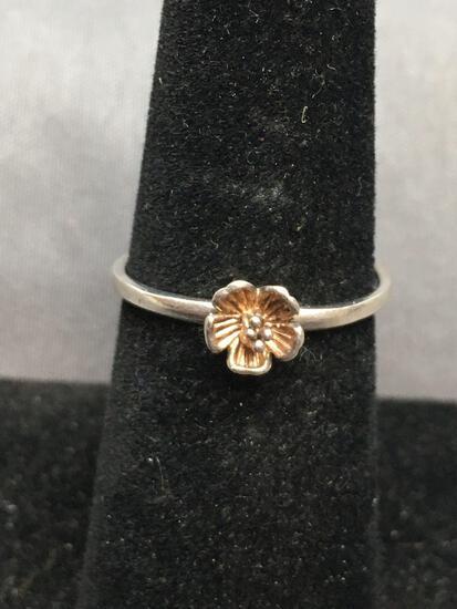 Boma Designer Round 5mm Flower Bud Detail Center Sterling Silver Promise Ring Band