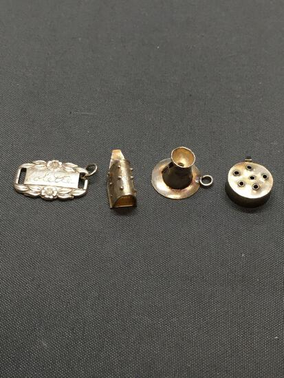 Lot of Four Miscellaneous Sterling Silver Charms