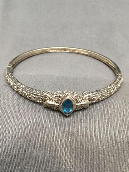 Marquise Faceted 10x5mm Blue Topaz Center w/ CZ Accented Butterfly & Filigree Detailed 3in Diameter