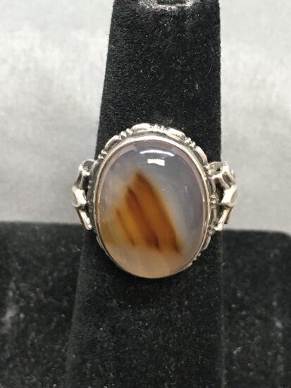 Oval 17x13mm Montana Picture Agate Center Cabochon Fleur De Lis Detailed Shoulders Sterling Silver