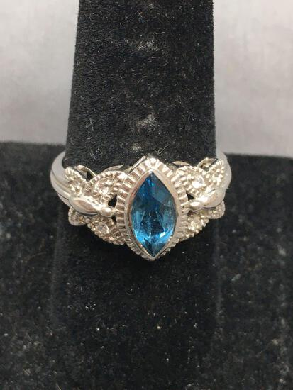 Marquise Faceted 10x5mm Blue Topaz Center w/ Milgrain Detailed CZ Accented Butterfly Shoulders