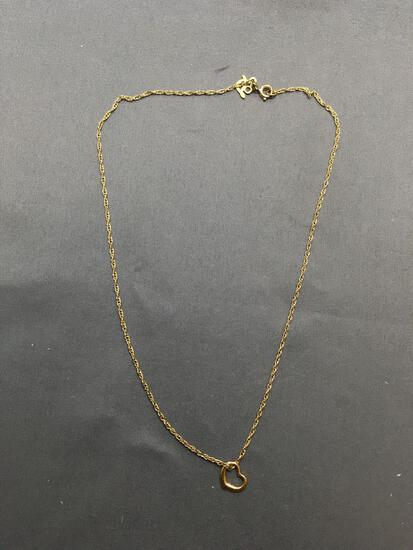 Rope Link 1.0mm Wide 16in Long Gold-Tone Sterling Silver Chain w/ Single Heart Pendant