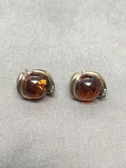 Round 8mm Diameter Amber Gemstone Center Pair of Sterling Silver Stud Earrings