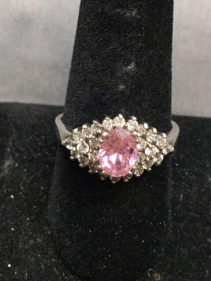 Oval Faceted 8x6mm Pink CZ Center w/ Round White CZ Halo Cluster Sterling Silver Ring Band