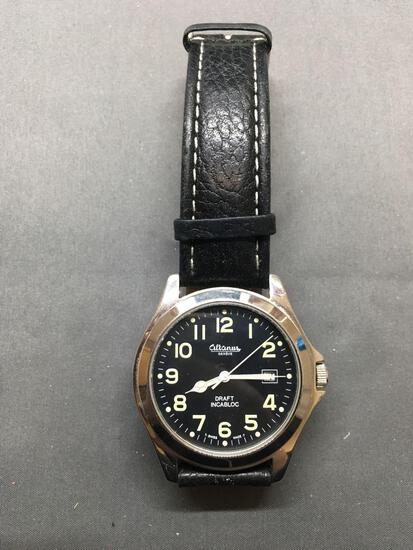 Altanus Designer Draft Incabloc Model Round 40mm Bezel Water Resistant Stainless Steel Watch w/