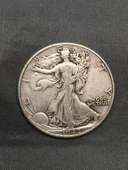 1942 United States Walking Liberty Silver Half Dollar - 90% Silver Coin from Estate