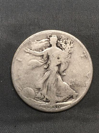 1936-S United States Walking Liberty Silver Half Dollar - 90% Silver Coin from Estate