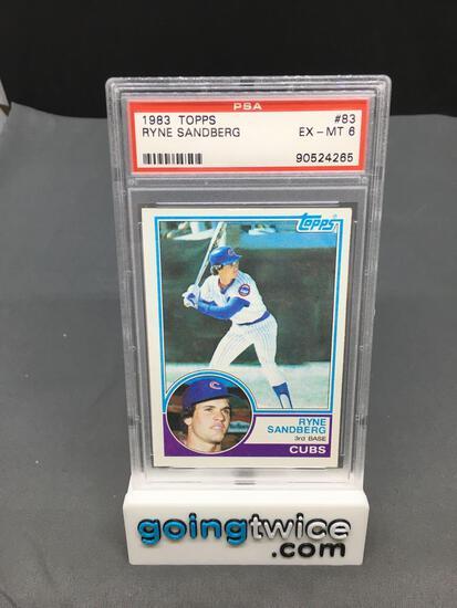 PSA Graded 1983 Topps #83 RYNE SANDBERG Cubs ROOKIE Baseball Card - EX-MT 6