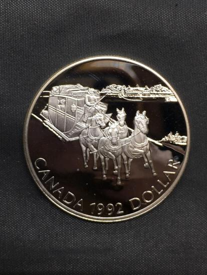 1992 Canada Horsedrawn Sleigh Silver Dollar - 92.5% Proof Silver Coin from Estate