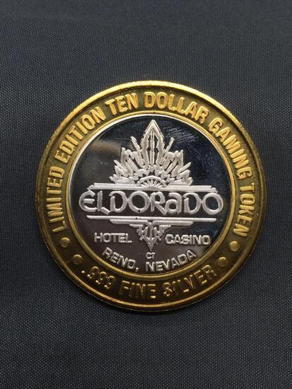 .999 Fine Silver $10 Casino Gaming Token - Eldorado Casino Reno Nevada