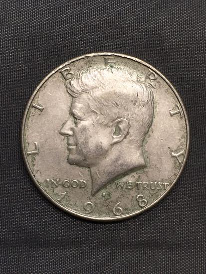 1968 United States Kennedy Silver Half Dollar - 40% Silver Coin from Estate