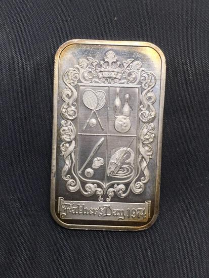 1 Troy Ounce .999 Fine Silver Father's Day 1974 Vintage Silver Bullion Bar