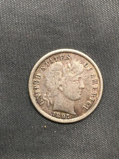1897 United States Barber Silver Dime - 90% Silver Coin from Estate