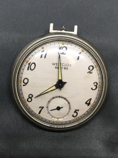 Vintage Westclox POCKET BEN Large Pocket Watch from Estate Collection As Found