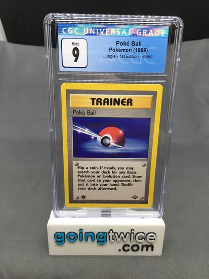 CGC Graded 1999 Pokemon Jungle 1st Edition #64 POKE BALL Trading Card - MINT 9