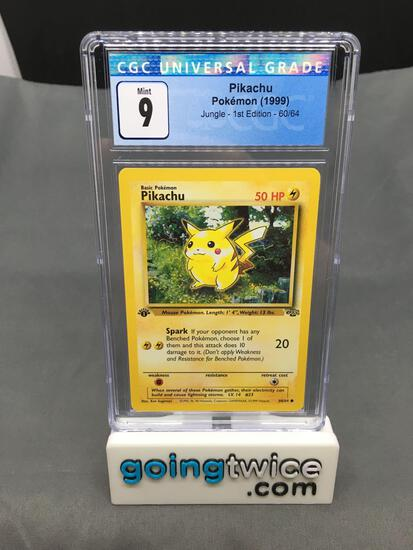 CGC Graded 1999 Pokemon Jungle 1st Edition #60 PIKACHU Trading Card - MINT 9