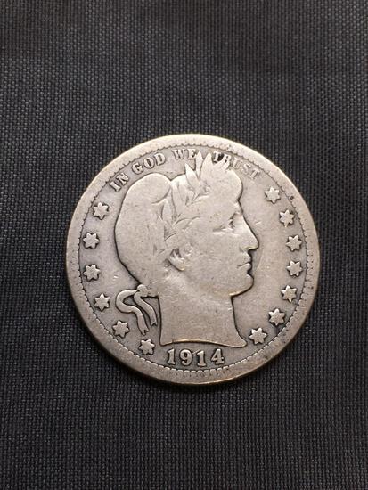 1914 United States Barber Silver Quarter - 90% Silver Coin